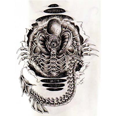 Black And Grey Alien Design Water Transfer Temporary Tattoo(fake Tattoo) Stickers NO.10845
