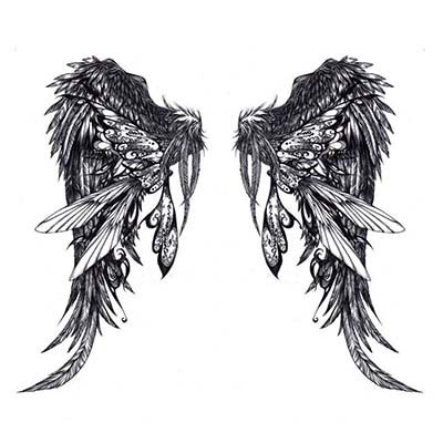 Amazing Angel Wings Heart Design Water Transfer Temporary Tattoo(fake Tattoo) Stickers NO.10858