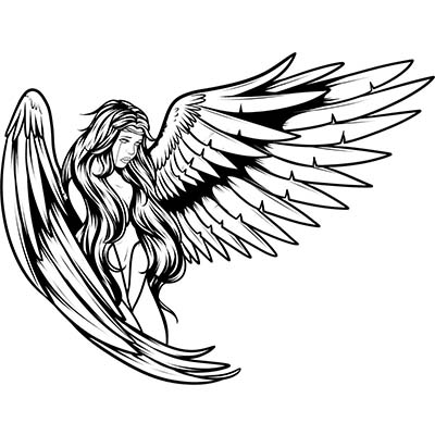 Angel Design Water Transfer Temporary Tattoo(fake Tattoo) Stickers NO.10892