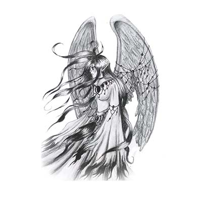 Angel Girl Back Design Water Transfer Temporary Tattoo(fake Tattoo) Stickers NO.10865
