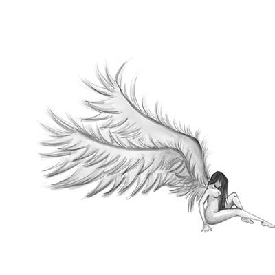 Angel Sitting Design Water Transfer Temporary Tattoo(fake Tattoo) Stickers NO.10867