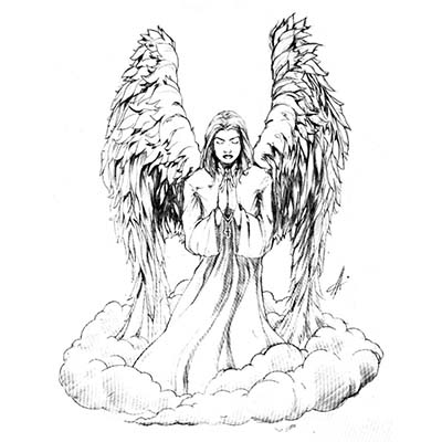 Angel Sketch Design Water Transfer Temporary Tattoo(fake Tattoo) Stickers NO.10871