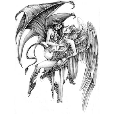 Angel and Devil Design Water Transfer Temporary Tattoo(fake Tattoo) Stickers NO.10861