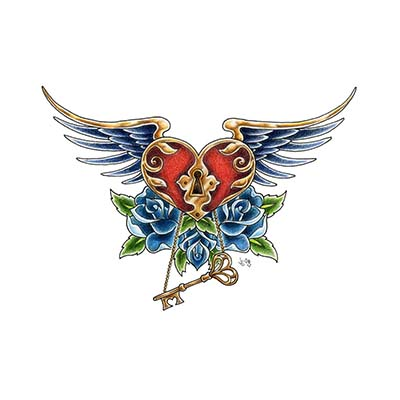 Angel key to your heart Design Water Transfer Temporary Tattoo(fake Tattoo) Stickers NO.10893