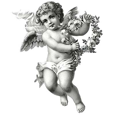 Grey ink baby angel design Water Transfer Temporary Tattoo(fake Tattoo) Stickers NO.10889