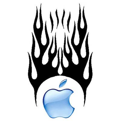 Flaming Blue Apple Design Water Transfer Temporary Tattoo(fake Tattoo) Stickers NO.10900