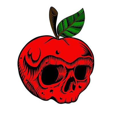 Skull Face Apple Design Water Transfer Temporary Tattoo(fake Tattoo) Stickers NO.10902