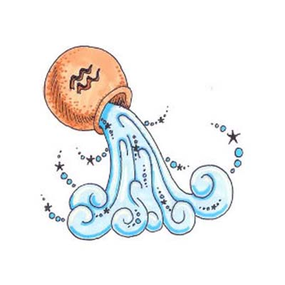 Aquarius colored design Water Transfer Temporary Tattoo(fake Tattoo) Stickers NO.10906