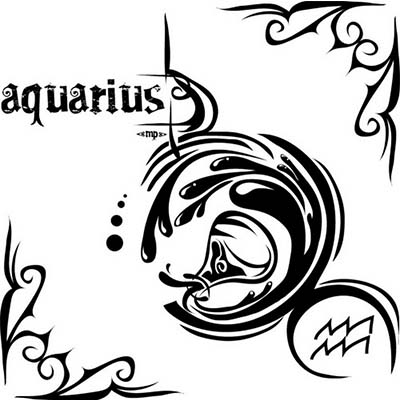 Aquarius zodiac Design Water Transfer Temporary Tattoo(fake Tattoo) Stickers NO.10909