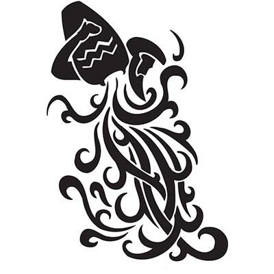 Black tribal aquarius design Water Transfer Temporary Tattoo(fake Tattoo) Stickers NO.10914