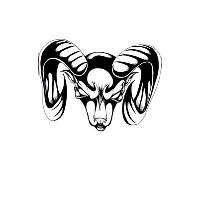 Black goat head aries design Water Transfer Temporary Tattoo(fake Tattoo) Stickers NO.10944