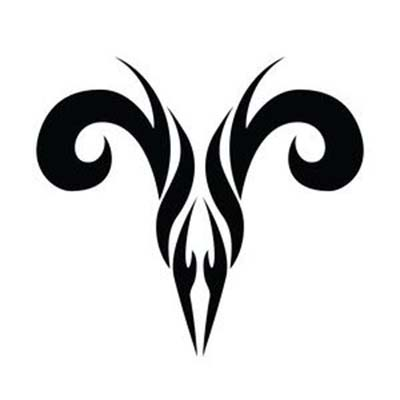 Black tribal aries symbol design Water Transfer Temporary Tattoo(fake Tattoo) Stickers NO.10946