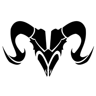 Black tribal goat skull aries zodiac design Water Transfer Temporary Tattoo(fake Tattoo) Stickers NO.10947