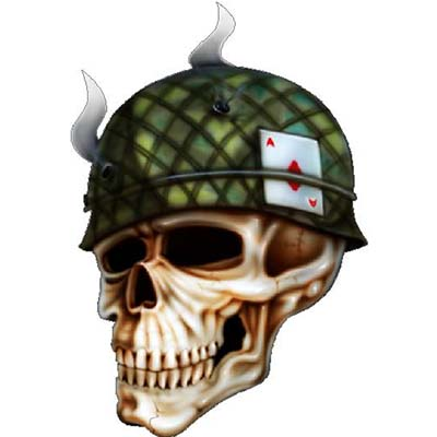 Outstanding Army Skull Design Water Transfer Temporary Tattoo(fake Tattoo) Stickers NO.10999