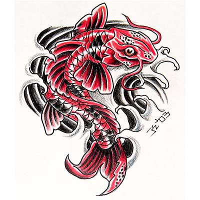 Asian Koi Fan Design Water Transfer Temporary Tattoo(fake Tattoo) Stickers NO.11003