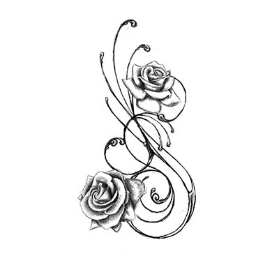 Asian Rose Design Water Transfer Temporary Tattoo(fake Tattoo) Stickers NO.11005