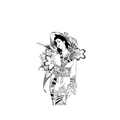 Asian Samurai Geisha Design Water Transfer Temporary Tattoo(fake Tattoo) Stickers NO.11006