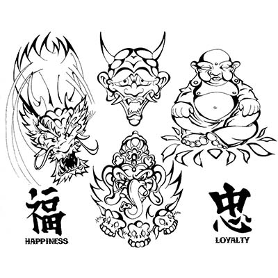 Awesome asian design Water Transfer Temporary Tattoo(fake Tattoo ...