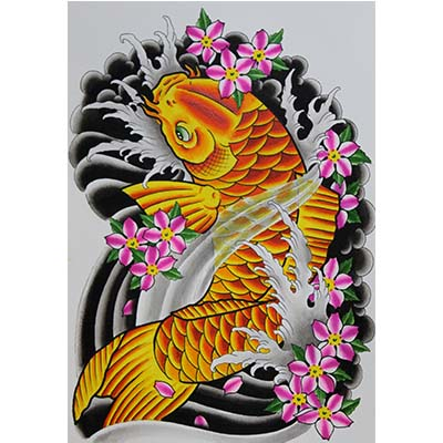 Color Ink Asian Koi Fish Design Water Transfer Temporary Tattoo(fake Tattoo) Stickers NO.11012
