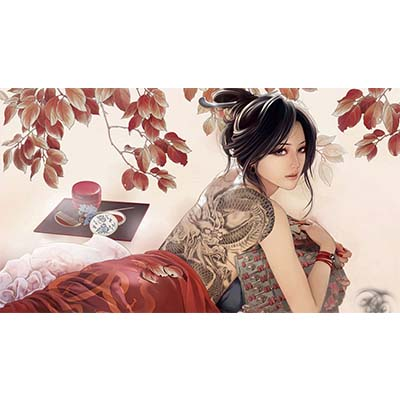 Cute grey ink asian on back Design Water Transfer Temporary Tattoo(fake Tattoo) Stickers NO.11013