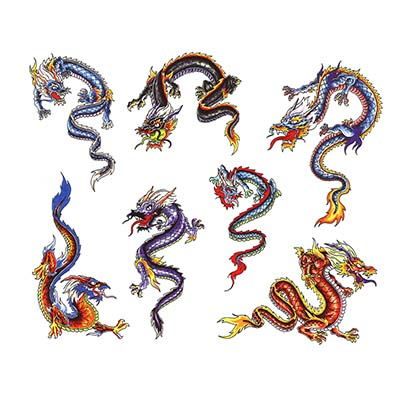 Dragon Vintage Asian Art Design Water Transfer Temporary Tattoo(fake Tattoo) Stickers NO.11014