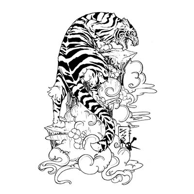 Full Back Asian Tiger Tattoo Design Water Transfer Temporary Tattoo(fake Tattoo) Stickers NO.11016