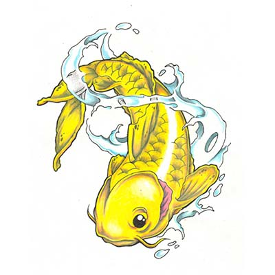 Nice Asian Koi Fish Image Design Water Transfer Temporary Tattoo(fake Tattoo) Stickers NO.11017