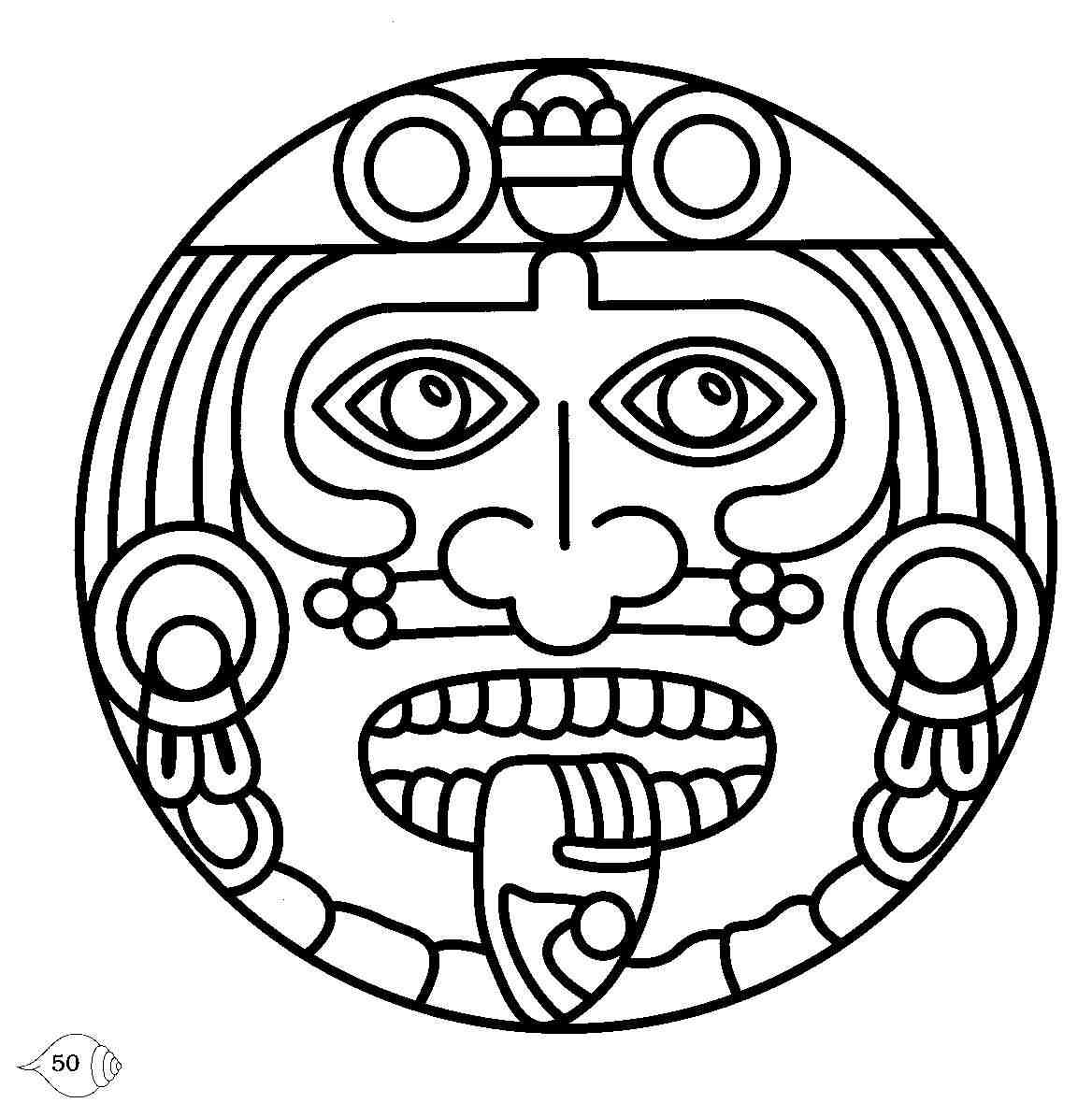 Sun Aztec Face Design Water Transfer Temporary Tattoo(fake Tattoo) Stickers NO.11024