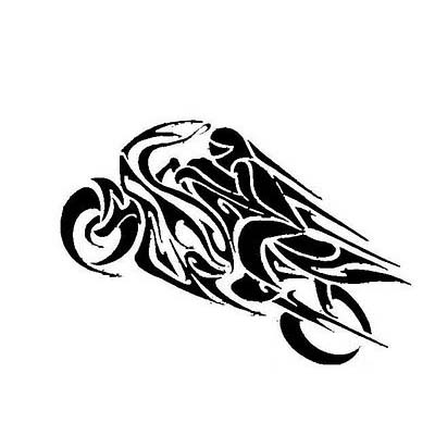 Black Tribal Motorcycle Design Water Transfer Temporary Tattoo(fake Tattoo) Stickers NO.11035