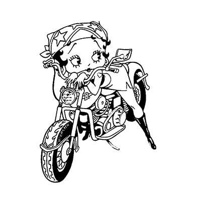 Outline Betty Boop Biker Design Water Transfer Temporary Tattoo(fake Tattoo) Stickers NO.11038