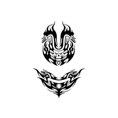 Two tribal bike Design Water Transfer Temporary Tattoo(fake Tattoo) Stickers NO.11029