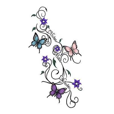 Awesome Butterfly Design Water Transfer Temporary Tattoo(fake Tattoo) Stickers NO.11050