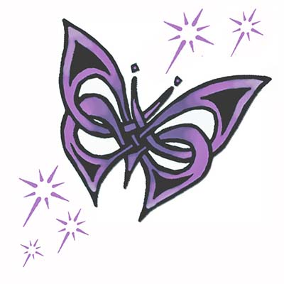Beautiful Butterfly Lovers Design Water Transfer Temporary Tattoo(fake Tattoo) Stickers NO.11051