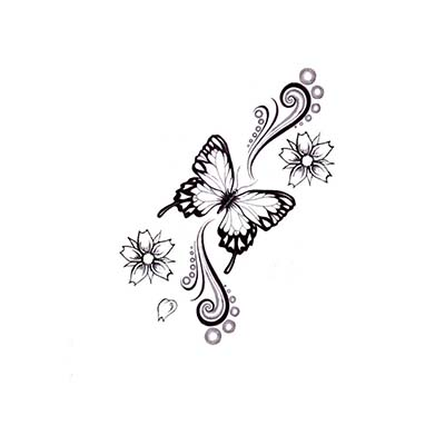 Butterfly With Flowers Stars Design Water Transfer Temporary Tattoo(fake Tattoo) Stickers NO.11062