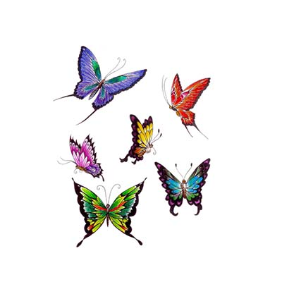 Coloured Butterfly Face Design Water Transfer Temporary Tattoo(fake Tattoo) Stickers NO.11064