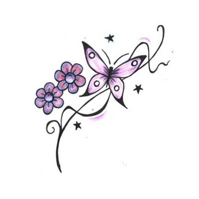 Cute Butterfly On Lower Back Design Water Transfer Temporary Tattoo(fake Tattoo) Stickers NO.11065