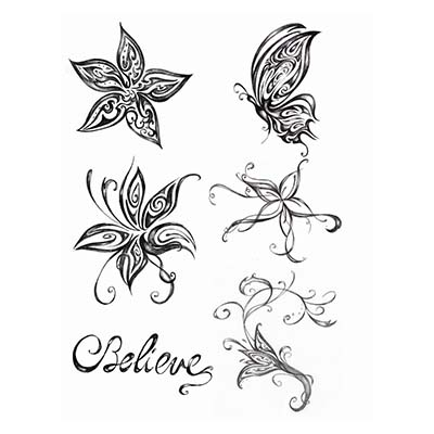 Cute Tiger Face Butterfly Design Water Transfer Temporary Tattoo(fake Tattoo) Stickers NO.11066