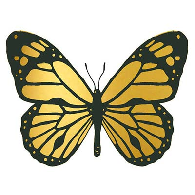 Golden Butterfly Design Water Transfer Temporary Tattoo(fake Tattoo) Stickers NO.11068