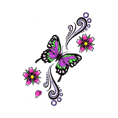 Lovely Butterfly Flowers Design Water Transfer Temporary Tattoo(fake Tattoo) Stickers NO.11070