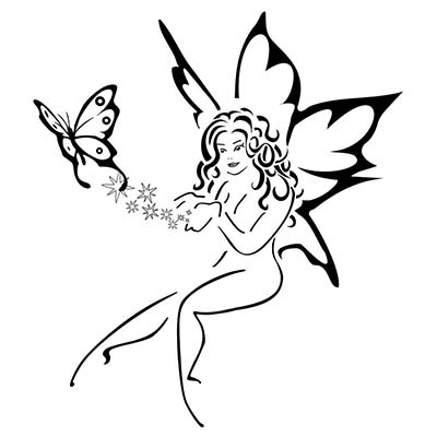 Lying Angel Butterfly Design Water Transfer Temporary Tattoo(fake Tattoo) Stickers NO.11072