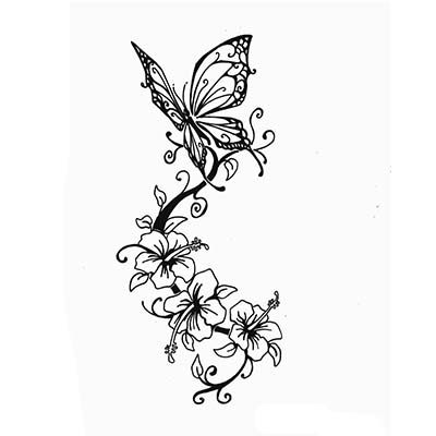 Rose with butterfly designs Water Transfer Temporary Tattoo(fake Tattoo) Stickers NO.11078
