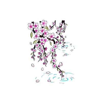 Cherry blossom falling in lake drawing Design Water Transfer Temporary Tattoo(fake Tattoo) Stickers NO.11085
