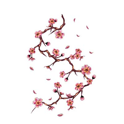Cherry tree branch Design Water Transfer Temporary Tattoo(fake Tattoo) Stickers NO.11086
