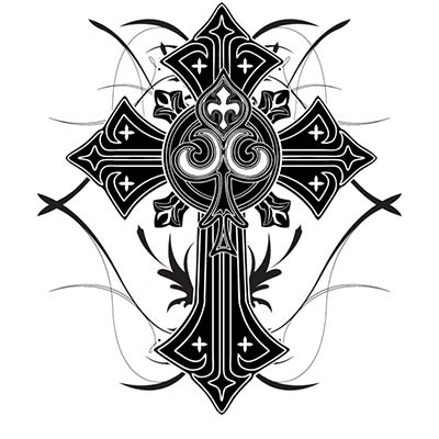Black Cross Design Water Transfer Temporary Tattoo(fake Tattoo) Stickers NO.11100