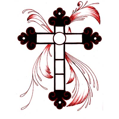 Black and red cross Design Water Transfer Temporary Tattoo(fake Tattoo) Stickers NO.11099