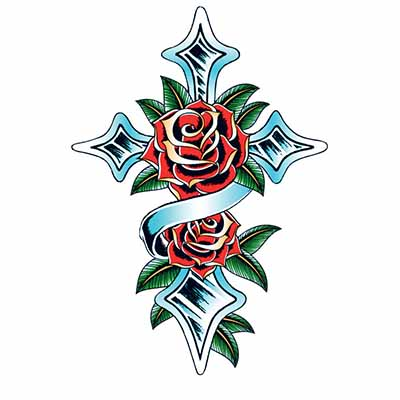 Cross Design Water Transfer Temporary Tattoo(fake Tattoo) Stickers NO.11115
