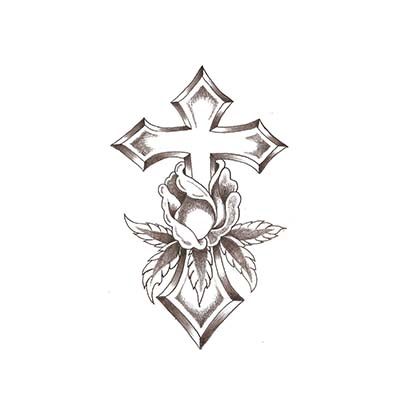 Flower Cross Designs Water Transfer Temporary Tattoo(fake Tattoo) Stickers NO.11107