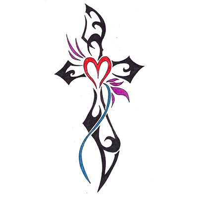 Girly Cross Tattoos Design Water Transfer Temporary Tattoo(fake Tattoo) Stickers NO.11108