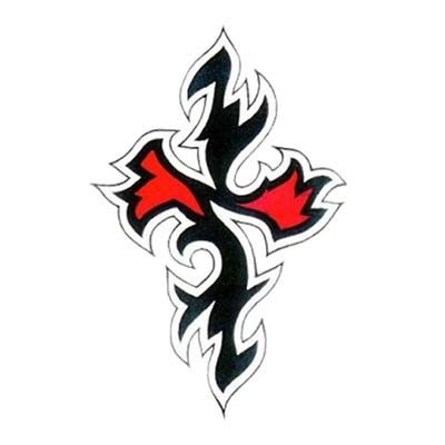 Red and black cross tribal Design Water Transfer Temporary Tattoo(fake Tattoo) Stickers NO.11113