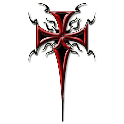 Red ink tribal cross design Water Transfer Temporary Tattoo(fake Tattoo) Stickers NO.11114